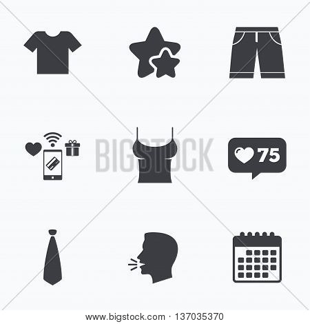 Clothes icons. T-shirt and bermuda shorts signs. Business tie symbol. Flat talking head, calendar icons. Stars, like counter icons. Vector