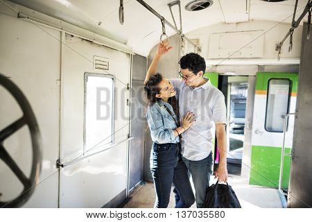 Couple Transportation Casual Commuter Train Concept
