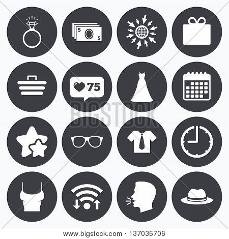 Calendar, wifi and clock symbols. Like counter, stars symbols. Accessories, clothes icons. Shirt with tie, glasses signs. Dress and engagement ring symbols. Talking head, go to web symbols. Vector