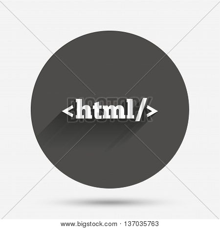 HTML sign icon. Markup language symbol. Circle flat button with shadow. Vector