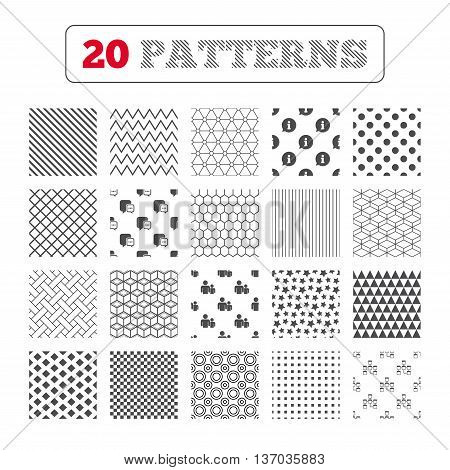 Ornament patterns, diagonal stripes and stars. Information sign. Group of people and database symbols. Chat speech bubbles sign. Communication icons. Geometric textures. Vector