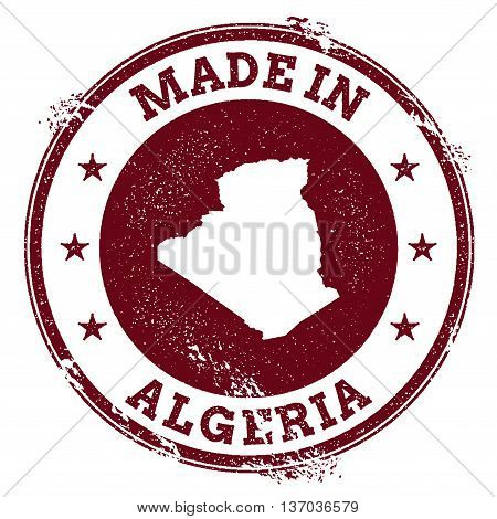 Algeria Vector Seal. Vintage Country Map Stamp. Grunge Rubber Stamp With Made In Algeria Text And Ma