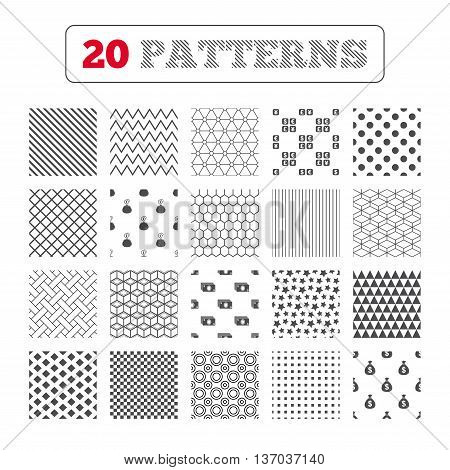 Ornament patterns, diagonal stripes and stars. Currency exchange icon. Cash money bag and wallet with coins signs. Dollar, euro, pound, yen symbols. Geometric textures. Vector