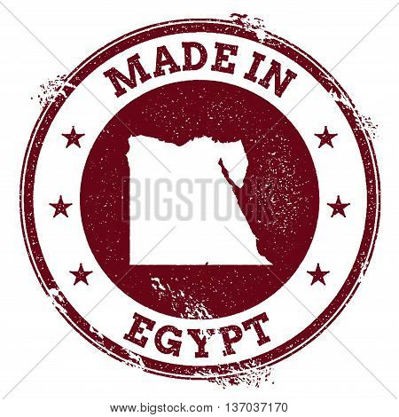 Egypt Vector Seal. Vintage Country Map Stamp. Grunge Rubber Stamp With Made In Egypt Text And Map, V