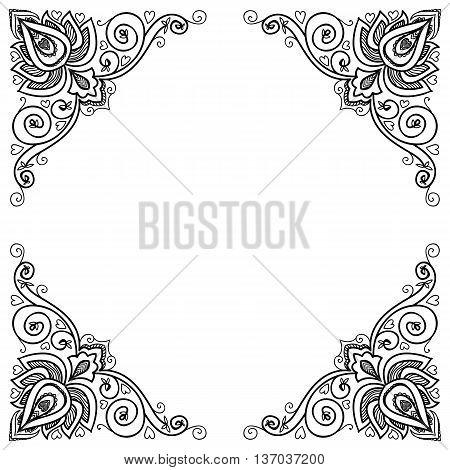 border in mandala stile. vintage decor element for web or print.