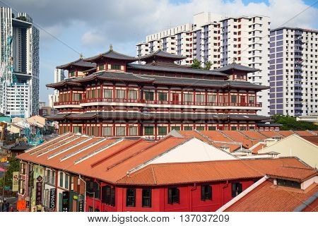 The Buddha's Relic Tooth Temple in Chinatown of Singapore