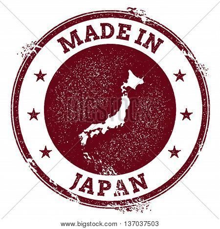 Japan Vector Seal. Vintage Country Map Stamp. Grunge Rubber Stamp With Made In Japan Text And Map, V