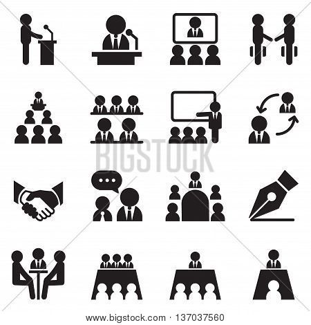 Business Meeting Training Seminar Interview Conference Recruitment icons set Vector illustration