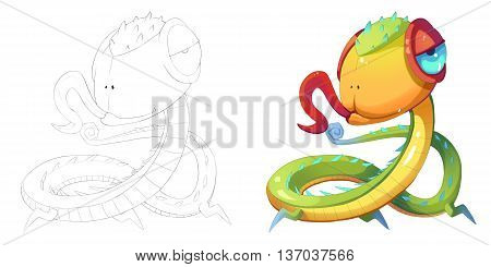 Big Eye Baby Head and Snake Dragon Creature. Coloring Book, Outline Sketch, Monster Mascot Character Design isolated on White Background