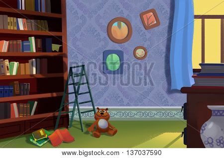 The Library and Study Room. Video Game's Digital CG Artwork, Concept Illustration, Realistic Cartoon Style Background