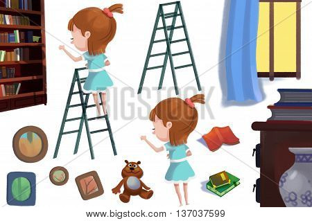Girl at the Book Shelf Ladder, Books, Photo Frame. Video Game Assets, Objects, Story Illustration Pieces isolated on White Background