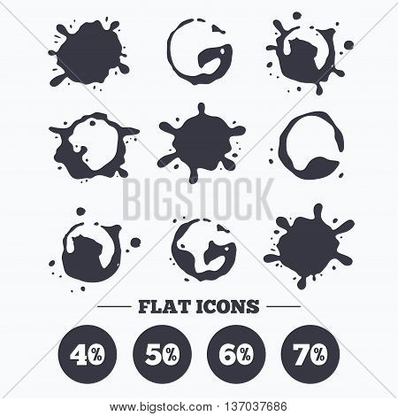 Paint, coffee or milk splash blots. Sale discount icons. Special offer price signs. 40, 50, 60 and 70 percent off reduction symbols. Smudges splashes drops. Vector