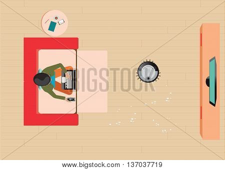 Man resting on sofa and holding remote control of Robotic vacuum cleaner cleaning the living room vector illustration.