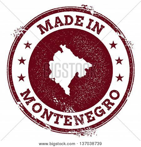 Montenegro Vector Seal. Vintage Country Map Stamp. Grunge Rubber Stamp With Made In Montenegro Text
