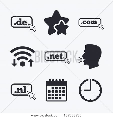 Top-level internet domain icons. De, Com, Net and Nl symbols with cursor pointer. Unique national DNS names. Wifi internet, favorite stars, calendar and clock. Talking head. Vector