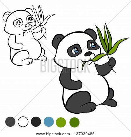 Coloring page. Color me: panda. Little cute panda sits and eats leaves. It`s happy.