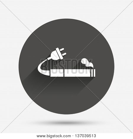 Smoking sign icon. E-Cigarette symbol. Electronic cigarette. Circle flat button with shadow. Vector