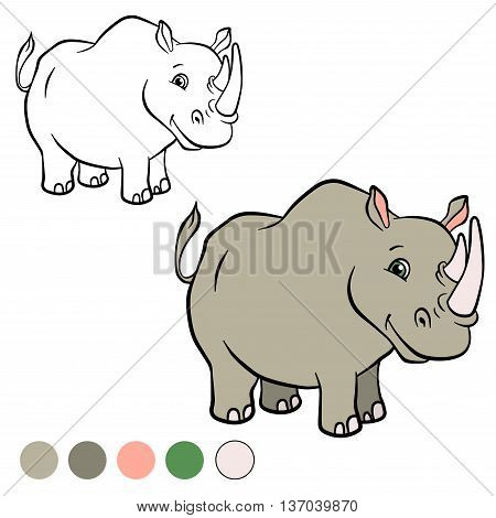 Coloring Page. Color Me: Rhinocetos.