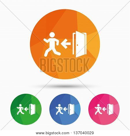 Emergency exit with human figure sign icon. Door with left arrow symbol. Fire exit. Triangular low poly button with flat icon. Vector