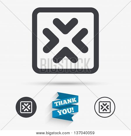 Enlarge or resize icon. Full Screen extend symbol. Flat icons. Buttons with icons. Thank you ribbon. Vector