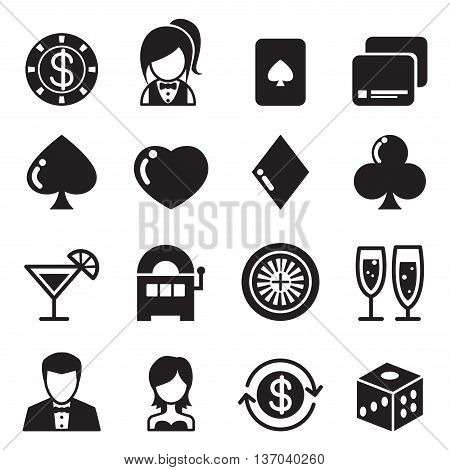 Casino & gambling icons set  vector illustration graphic design