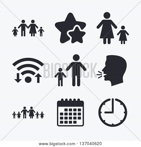 Large family with children icon. Parents and kids symbols. One-parent family signs. Mother and father divorce. Wifi internet, favorite stars, calendar and clock. Talking head. Vector