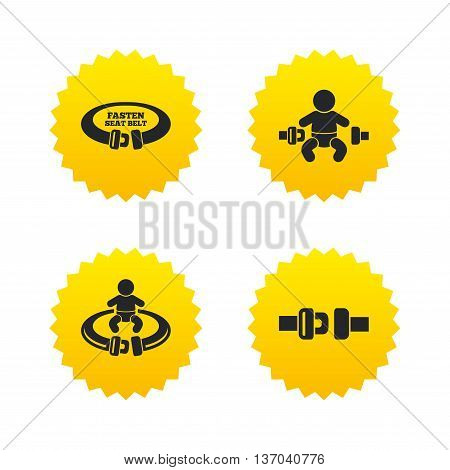 Fasten seat belt icons. Child safety in accident symbols. Vehicle safety belt signs. Yellow stars labels with flat icons. Vector