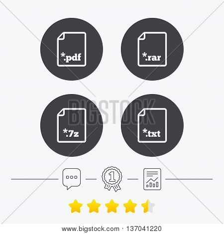 Download document icons. File extensions symbols. PDF, RAR, 7z and TXT signs. Chat, award medal and report linear icons. Star vote ranking. Vector