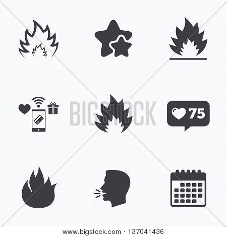 Fire flame icons. Heat symbols. Inflammable signs. Flat talking head, calendar icons. Stars, like counter icons. Vector