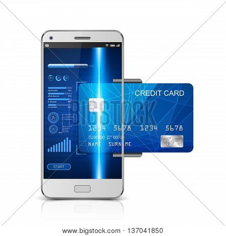 Mobile payment concept, Smartphone with processing of mobile payments from credit card. vector