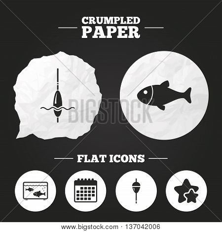 Crumpled paper speech bubble. Fishing icons. Fish with fishermen hook sign. Float bobber symbol. Aquarium icon. Paper button. Vector