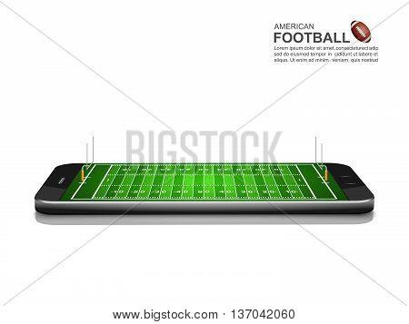 American Football Online Concept, American Football field on smartphone , vector illustration