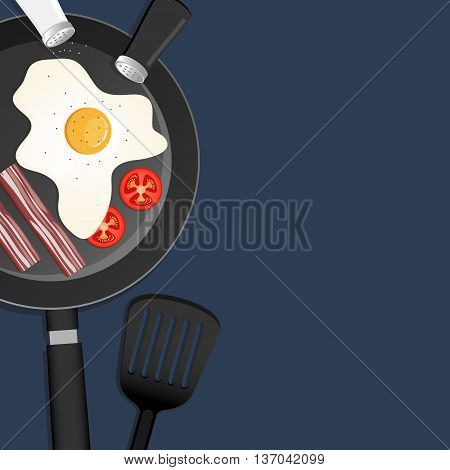 Popular breakfast with eggs bacon and tomatoes in a pan. Space for text