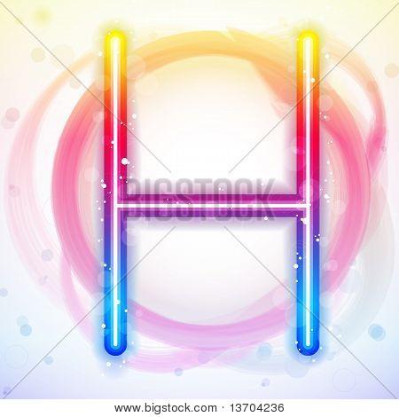 Alphabet Rainbow Lights In Circle White Background