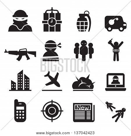 terrorism Assassin killer icons set  Vector illustration Graphic design