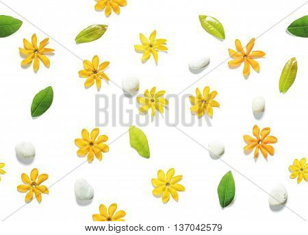 Seamless, flower flowers, green leaves and white pebbles stones