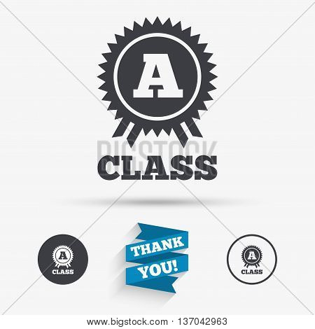 A-class award icon. Premium level symbol. Energy efficiency sign. Flat icons. Buttons with icons. Thank you ribbon. Vector