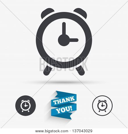 Alarm clock sign icon. Wake up alarm symbol. Flat icons. Buttons with icons. Thank you ribbon. Vector