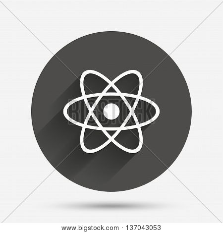 Atom sign icon. Atom part symbol. Circle flat button with shadow. Vector