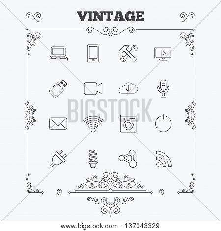 Devices and technologies icons. Notebook, smartphone and wi-fi symbols. Usb flash, video camera, microphone thin outline signs. Washing machine, fluorescent lamp and electric plug. Vintage ornament patterns. Decoration design elements. Vector