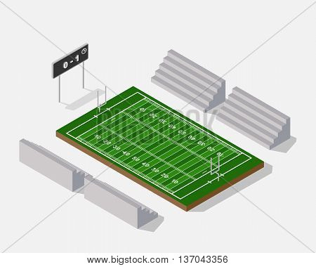 3d isometric American Football field on white background. vector
