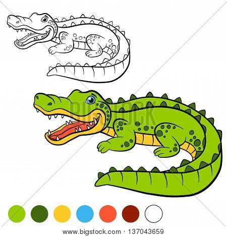 Coloring Page. Color Me: Alligator. Little Cute Alligator.