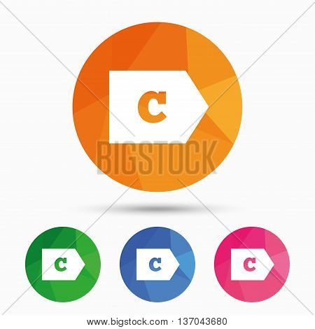 Energy efficiency class C sign icon. Energy consumption symbol. Triangular low poly button with flat icon. Vector