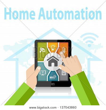 Smart Home Automation Control Apps Concept on mobile device