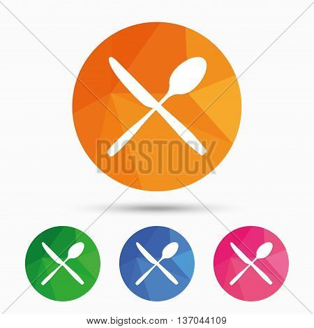 Eat sign icon. Cutlery symbol. Knife and spoon crosswise. Triangular low poly button with flat icon. Vector