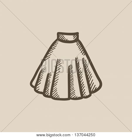 Skirt vector sketch icon isolated on background. Hand drawn Skirt icon. Skirt sketch icon for infographic, website or app.