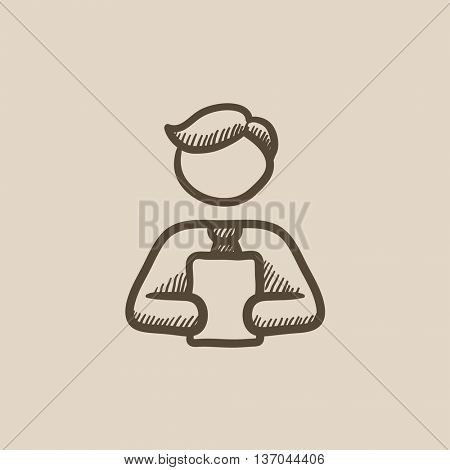 Man holding digital tablet vector sketch icon isolated on background. Hand drawn Man holding digital tablet icon. Man holding digital tablet sketch icon for infographic, website or app.