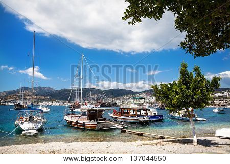 Harbor With Boats In Turkey