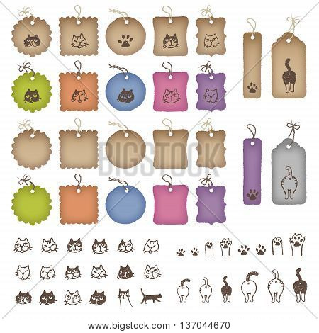 Product tags in various shapes and color with cat illustration
