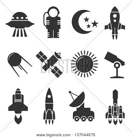 Space and astronomy vector icons. Rockets and satellites, planets and astronaut vector signs